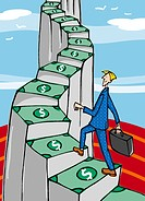 A man walking up the money stairs