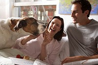 Couple sitting up in bed, woman feeding bread roll to dog, laughing