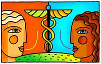 Two doctors discussing medicine in front of a caduceus