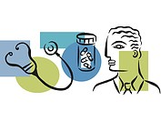 An illustration showing a physician, prescription drugs and a stethoscope