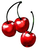 Three shiny cherries