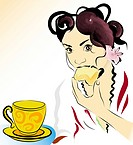 woman eating a biscuit and having tea