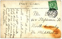 Vintage postcard with script writing, UK