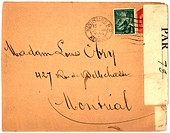 Vintage envelope with script writing, from Montpellier