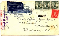 Vintage envelope with script writing, by air mail
