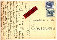 Vintage postcard with script writing, Deutsche Post