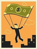 Man using a money parachute