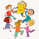 A group of kids dancing with a book