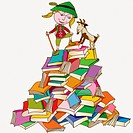 A girl on a mountain of books