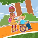 A girl pushing her friend who is in a wheelchair