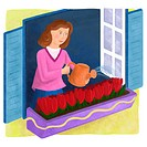 A woman watering a bed of tulips outseide her window