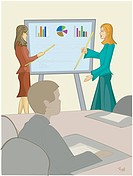 Two women giving a business presentation