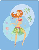 Girl hula dancing