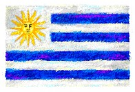 Drawing of the flag of Uruguay