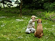 Young boy (8-9) patting dog in park