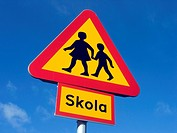 Warning sign. School. Sweden