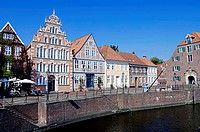 Mayor, Hintze, house, houses, and, the, former, Swedish, provisions, storehouse, at, the, old, harbour, Stade, Lower, Saxony, Germany
