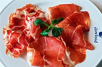 Plate, with, ham, Bra, Piemont, Italy