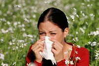 Woman, with, hay, fever, blowing, her, nose, sneezing, allergy