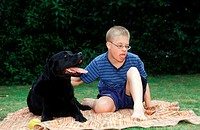 Handicapped, Boy, autistic, with, Labrador, Retriever