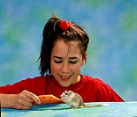 Girl, with, Gerbil, Meriones, unguiculatus