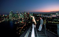Man, on, top, of, the, Sydney, Harbour, Bridge, bridge, climb, view, on, Sydney, at, night, New, South, Wales, Australia