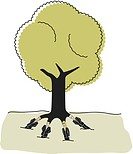 A tree with businesspeople as roots