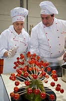 Cherry tomatoes, preparing canapes, Divinus Catering, San Sebastian, Donostia, Gipuzkoa, Basque Country