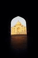 Mausoleum viewed through an archway, Taj Mahal, Agra, Uttar Pradesh, India (thumbnail)