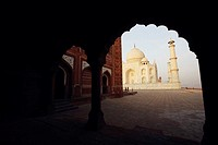 Mausoleum viewed through an archway, Taj Mahal, Agra, Uttar Pradesh, India