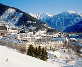 architecture, churches / monasteries, monastery, Ettal, view, Estergebirge in background, Bavarian Alps, Ammergauer Alps, winter, Bavaria, Germany, Eu...