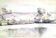 fine arts, Heckel, Erich, 1883 - 1970, painting, Am Oberrhein, on the Upper Rhine river, watercolour, Ketterer gallery, Munich, historic, historical, ...