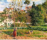 fine arts, Pissarro, Camille 10 7 1830 - 13 11 1903, painting, Jardin Potager a l´Hermitage Vegetable Garden at the Germitage, Pontoise, 1879, oil on ...