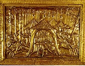 fine arts, middle ages, craft / handcraft, shrine of Charlemagne, 1215, by assignment of Frederick II, roof relief, detail, emperor Charlemagne gettin...
