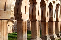 Arches in the cloister of San Juan de Duero (13th century), near Soria. Castilla-Leon. Spain