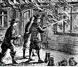 SG hist, Feuer, Brände, Brand von London 2 9 1666 - 5 9 1666, Feuerwehr beim Löschen, Historienbild, Xylografie 19  Jh , Katastrophe, 17  Jh , Katastr...