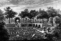 Geografie, hist , Frankreich, Städte, Paris, Schlösser, Tuilerien, Detail, Garten, Xylografie, Architektur, Palais de Tuileries, Park, Barock, Hof, Ga...