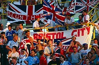 Sport / Sports, soccer, football, World Cup 1990, final round, group match, England against Netherlands, Cagliari, Italy, 16 6 1990, English fans, fan...
