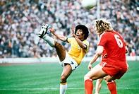 SG Sport hist , Fußball, Weltmeisterschaft, WM 1974, WM Endrunde, Spiel um 3  Platz, Brasilien gegen Polen, 0:1 in München, Deutschland, 6 7 1974, Spi...