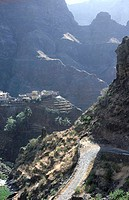 High angle view of road passing through mountain, Santo Antao, Cape Verde