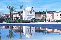 Reflection of mosque in water, Koutoubia Mosque, Djemma El Fna Square, Marrakesh, Morocco