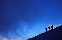 Climbers on their way to the top of Mont Blanc, France