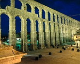 Roman aqueduct at night, Segovia. Castilla-León, Spain (98 - 117  B.C )