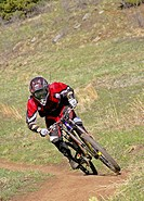 Mountain biker on the Ajax Trail near Golden, Colorado, USA