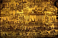 geography / travel, Laos, Luang Prabang, buildings, Wat May, temple, exterior view, detail: portal, gilded, showing ancient royal residence, 19th cent...