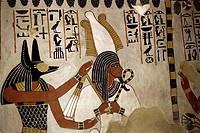 geography/travel, religion, gods Anubis und Osiris, tomb of Sen-nefer, Qurna, circa 1420 BC, 18th dynasty, ancient world, god, hieroglyphs, New Kingdo...