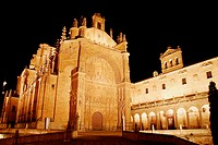 Night view of San Esteban convent anch chuch, Salamanca. Castilla-León, Spain