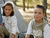 Boy and girl camping