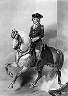 A4 Gates, Horatio, 1727 - 10 4 1806, US General, Ganzfigur, Reiterbild, Historienbild, Stahhlstich von W Wellstood nach Gemälde von Alonzo Chappel 182...