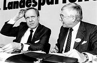 Wallmann, Walter, * 24 9 1932, deut Politiker CDU, Oberbürgermeister von Frankfurt am Main 1977 - 1986, Landesparteitag der CDU Hessen, 1 2 1986, mit ...